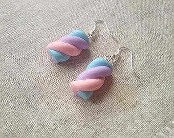 Solid Silver Marshmallow earrings, candy earrings, fairy kei, sweet lolita, miniature food jewelry, pastel goth, kawaii, pastel earring