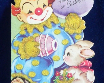 1950's Bobo Clown & Bunny Easter Greeting Card by Gibson