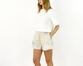 High Waisted Linen Shorts. Handpainted Culottes With Pockets.