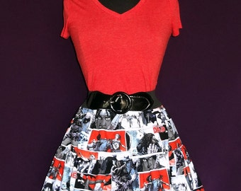 The Walking Dead Michonne Print Ruffled Circle Skirt with Lace