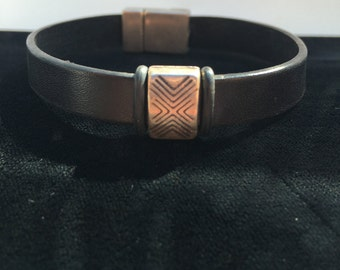 Black leather with silver slide bracelet
