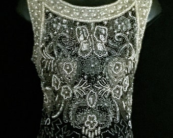Pearl and Sequin Beaded Navy Gown                      VG132