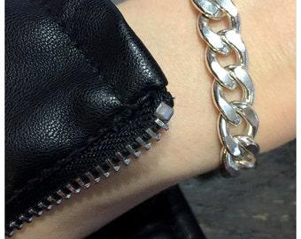 Diamond Cut Sterling Curb Bracelet