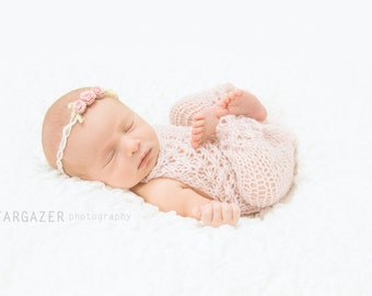 Newborn Girl Romper - Photography Prop - Pink - Infant Photography Outfit