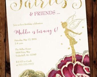 Fairies Birthday Invitation, Fairies and Friends Birthday Invitation, Fairy Birthday Invitation #002