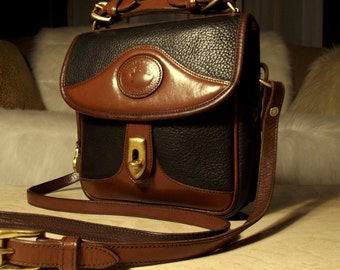 Dooney & Bourke Vintage All Weather Leather Black/Burnt Cedar Square Carrier Top-handle Mini-Brief Crossbody: Patina Rich ONLY 5.99 SHIPPING