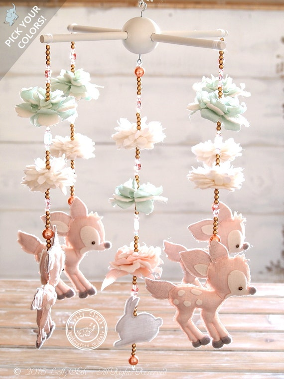 Fawn Baby Mobile With 100 Swarovski Crystals Deer By