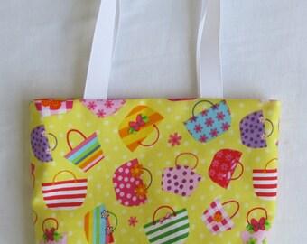 Fabric Gift Bag/ Small Tote/ Hostess Gift Bag- Colorful Handbags in Yellow