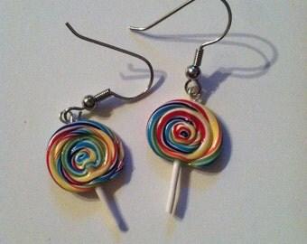 Rainbow Lollipop Candy Earrings