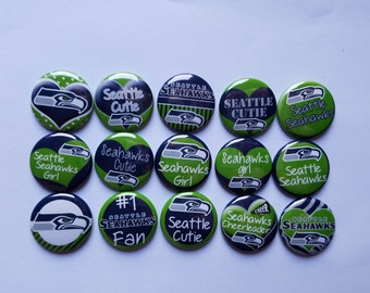 """Seattle Seahawks  bottlecap image 1"""" buttons, flatback, pin, or magnet. Set of 15"""