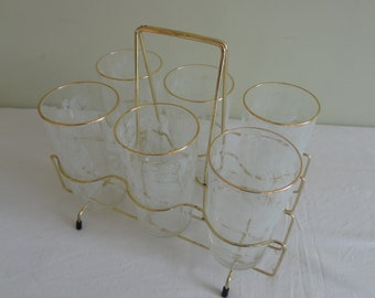 Vintage Set Chance Glasses x 6 in metal carry holder Calypto Tumblers Michael Harris Retro Glassware