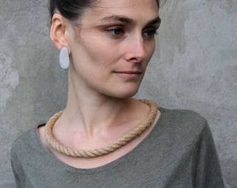 Rope Necklace - Statement Nautical Jewelry - Natural Baltic Linen - Chunky Cord