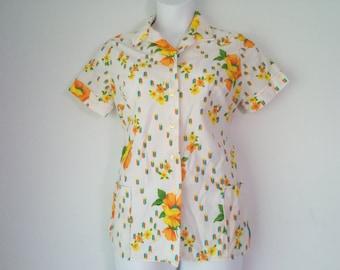 Vintage Floral Button Up, Short Sleeve Blouse Size XL