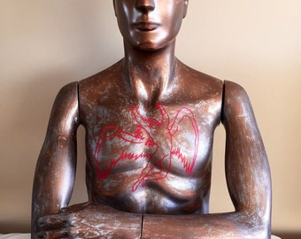 One of a kind Mid Century Style Mannequin with an Angel on the front and back. Icarus.