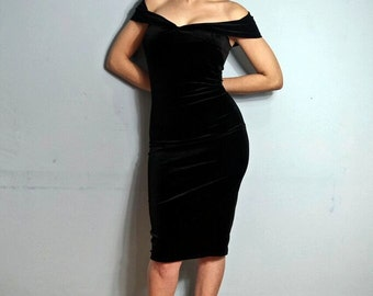 Black Velvet Off-the-shoulder Wiggle Pencil Dress 1950s Glamour Made-to-Measure Prom Hollywood Red Carpet Evening Black Tie Party
