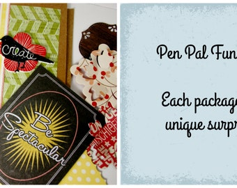pen pal fun pack grab bag surprise bag letter writing kit snail mail pack pen pal kit papercraft grab bag random fun
