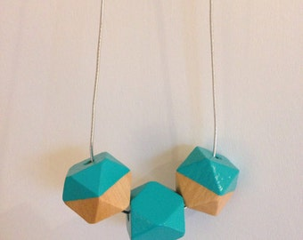 Geometric Necklace - Wooden Bead Statement Necklace - Hand-Painted, Minimalist, Turquoise, Silver, Metallic- Gift for her