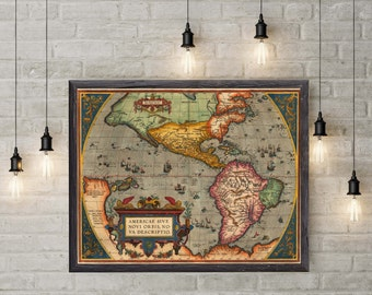 America Continent Old Map| 1589 Antique America Continent Map| Wall Decor Map| Office Wall Art Map| Map Wall Art