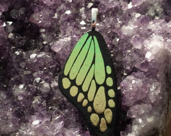 Fused Glass Dichroic Butterfly Wing (gold/green)