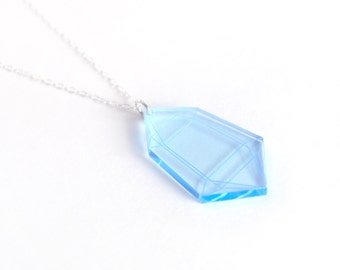Fluorescent Blue Small Crystal Pendant Necklace, Laser Cut Acrylic, Neon Jewelry, Geometric Statement Necklace, Futuristic Jewelry