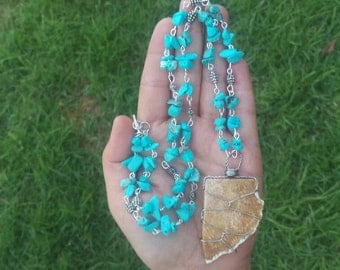 Fossil Coral Turquoise Necklace