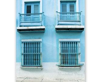 Pastel Print, Blue Wall Art,  Colonial, Buildings, Street Photography, Puerto Rico, Rustic, City Print, Travel Photography, Nursery Fine Art
