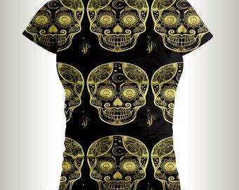 His and Hers Sugar Skull t-shirts, Skull shirts,shirts,ladies t-shirts,Dia De Los Muertos shirts,Halloween T-shirts,skull and bones.