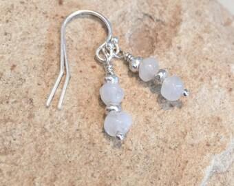 Moonstone and silver drop earrings, sundance style earrings, silver dangle earrings, Hill Tribe silver earrings, gift for her, gift for wife