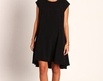 Oversize midi dress,  flare shape elegant dress, Black party dress