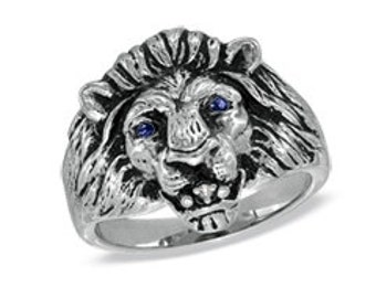 Men's Silver Lion Ring, Sapphire Eyes