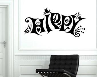 Wall Vinyl Hippy Love Music Freedom Weed Mural Vinyl Decal Sticker 1783dz