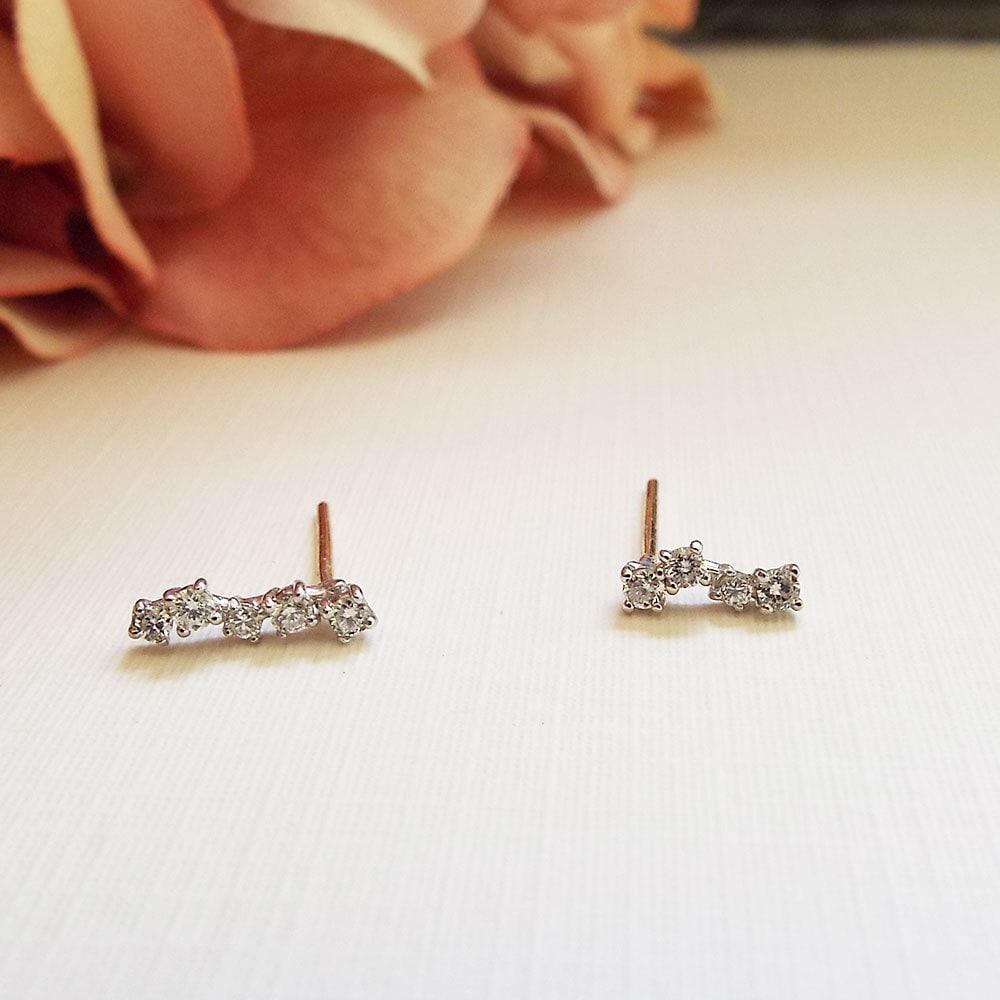 Diamond Cluster Asymetrical Bar Studs 14K genuine diamond earrings dainty everyday diamond bar studs