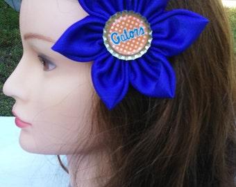 "Blue Satin Florida Gator Bottle Cap Flower Hair Clip, 2"" Alligator Clip with Blue Satin Flower"