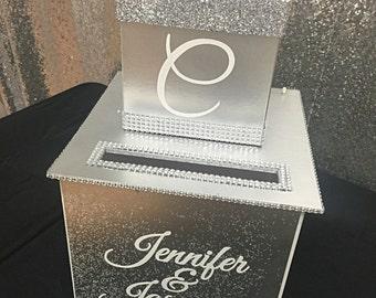 Two-Tier Custom Wedding Card Box // Gorgeous with bling // Rhinestone