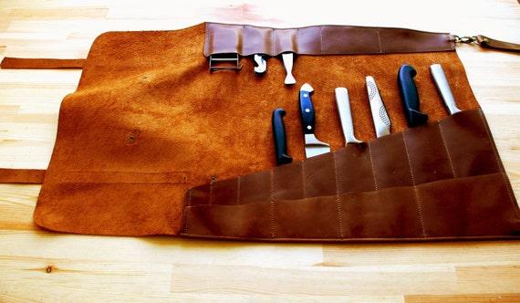 Braun Leder Messer Roll, Chef Messerkasten, Kochmesser Rollen, Chef Tasche,  Chefwear, Geschenk Für Ihn, Küchenzubehör, Geschenke Für Köche, יעל חפר