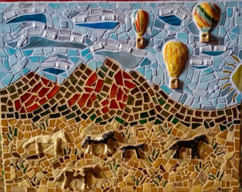 New Mexico art, mosaic, wall art, Southwest, ponies, horses, hot air balloons, mountains, Sandias,  cactus, Placitas horses, stained glass