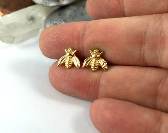 Bee Earrings, Solid Silver Bee Earrings, 24k Gold Bee Earrings, Bee Studs, Bumble Bee Earrings, Bee Stud Earrings, Bumble Bee Stud Earrings