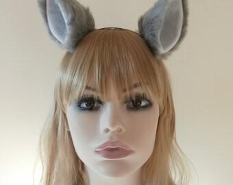 Faux Fur Cat Fox Ear Hair Clips Grey White Wolf Ears Lolita Neko Kitty Kawaii Soft High Quality Headband Necomimi Handmade Cosplay Dress Up