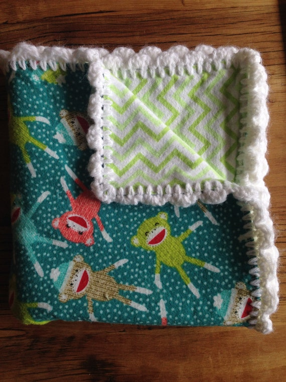 Free Crochet Patterns For Receiving Blankets : Free Shipping Baby Receiving Blanket with Hand Crochet Edge