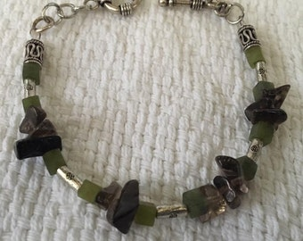 Handmade Genuine Green Jade and Smokey Quartz Crystal Gemstone Beaded Bracelet Jewelry