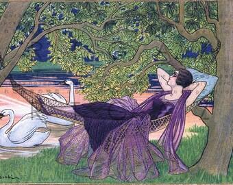 Lovely FLAPPER Naps At Swans's Lake Shore. Art Deco Illustration. Digital Flapper Download. Flapper Printable Image.