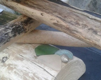 Driftwood Christmas Tree -  Cornish Beach Driftwood with Sea Glass and Silver Shell Cottage Chic Xmas Tree - Handmade by Adrift Crafts