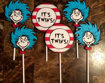 Thing 1 and Thing 2 cupcake toppers