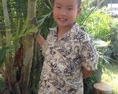 Boy's Hawaiian print Aloha short sleeve Shirt / Keiki sizes XS, S, M, L, & XL, 100% cotton with coconut buttons; print: hibiscus, shark, car