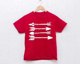 Valentine's Day Shirt for Kids or Toddlers, Arrow Design Red T-Shirt Boho Arrow Design, Valentine Shirt for Boys or Girls (Item - SYA300)