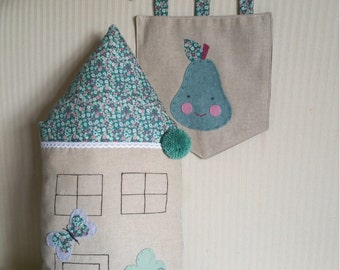 Hanging banner with pear appliqué