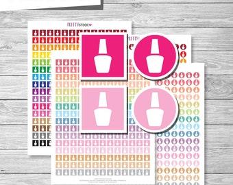 Nail Polish Stickers, Printable Nail Polish Planner Stickers, Manicure Stickers, Pedicure Stickers, Nail Polish Planner Stickers PS36
