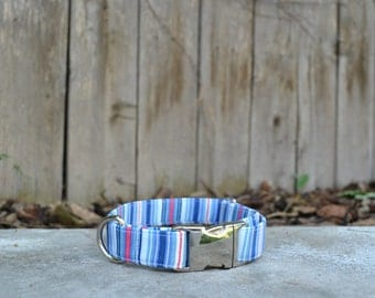 Patriotic Red, White, and Blue Striped Dog Collar