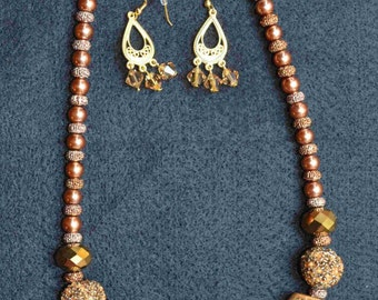 Cocoa Brown Necklace and Earrings