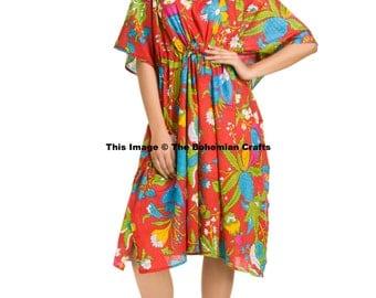 Floral Kaftan, Indian Dress, Plus Size Caftan, Cotton Kaftan, Night Wear, Beach Cover Up, Cotton Tunic, Summer Dress, Maternity Gown Short